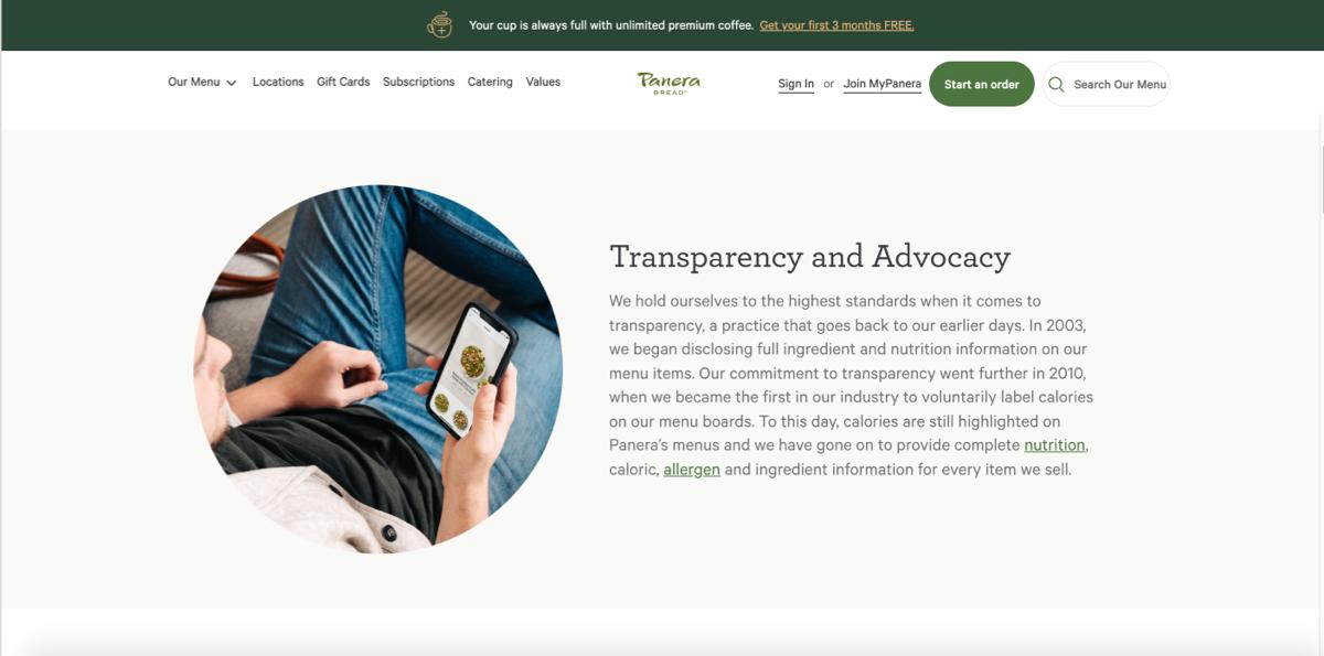 Brand Transparency - Panera Bread