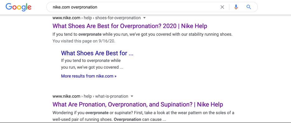 Overpronation Results, Google